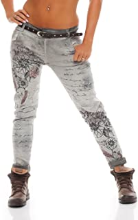 75b5fdf5f0a ZARMEXX Pantalones de mujer novio Jeans holgados Jeggings Stretch de  pantalones de algodón con la correa