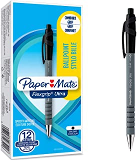 Paper Mate Flexgrip Ultra Retractable Ballpoint Pens   Medium Point (1.0mm)   Black   12 Count