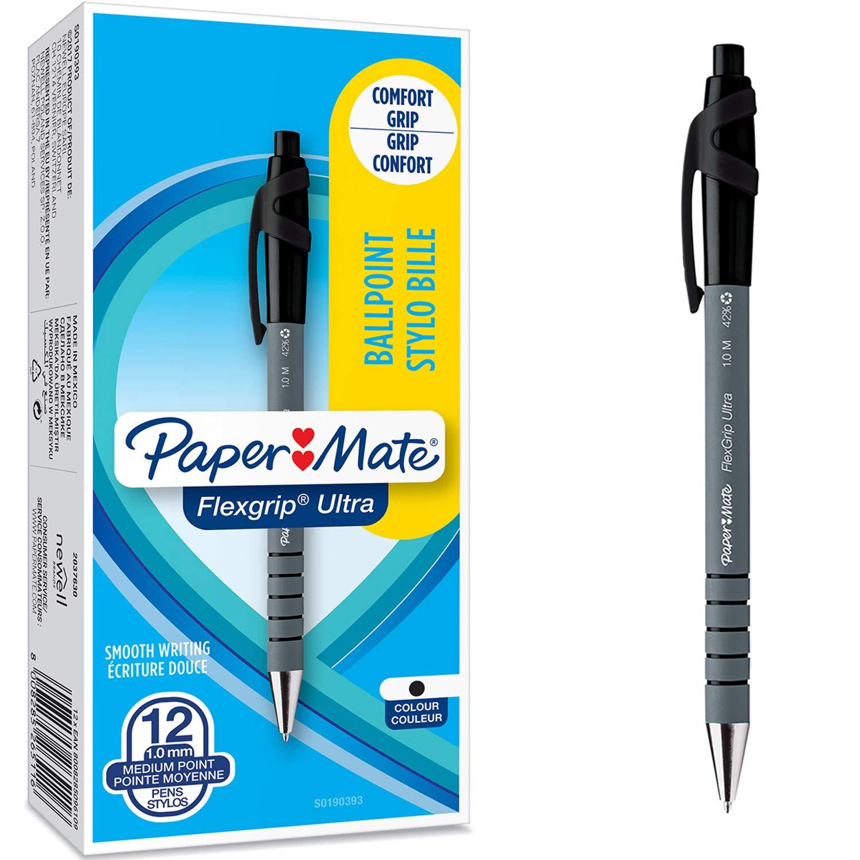 Paper Mate Flexgrip - Bolígrafo, punta retráctil y pinza, punta mediana de 1.0 mm, caja de 12, color negro: Amazon.es: Oficina y papelería