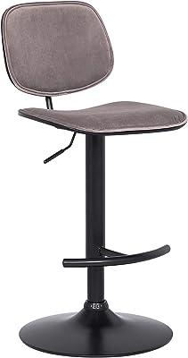 Benjara Adjustable Velvet Swivel Barstool with Split Round Back, Gray, Black