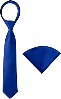 Spring Notion Boys' Satin Zipper Necktie and Handkerchief Set