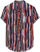 YKARITIANNA Mens Striped Printed Loose Short Sleeve Causal Breathable Turn Down Collar Shirt