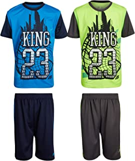 Pro Athlete Boys 4-Piece Matching Performance Basketball Shirt and Short Sets