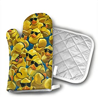 Rubber Duck Painting.jpg Heat Resistant Kitchen Oven Mitt with Non-Slip Printed, Set of 2 Oven Gloves for BBQ Cooking Baking, Grilling, Barbecue,Microwave, Machine Washable.