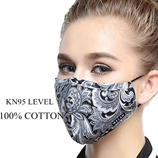 ZWZCYZ Masks Dust Mask Anti Pollution Mask PM2.5 4 Layer Activated Carbon Filter Insert Can Be Washed Reusable Masks Cotton Mouth Mask for Men Women (Medium(Women's), Grey Flowers)