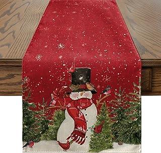 Artoid Mode Snowman Cardinals Trees Snowflakes Christmas Table Runner, Seasonal Winter Xmas Holiday Kitchen Dining Table D...