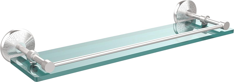 Allied Brass MC-1 22-GAL-SCH Monte Carlo 22-Inch Tempered Glass Shelf with Gallery Rail, Satin Chrome