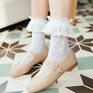 Lolita House 総レース ハイソックス 2足セット かわいい ロリータ lolita 女子 靴下 レースソックス 透かし ジュニア ショットソックス