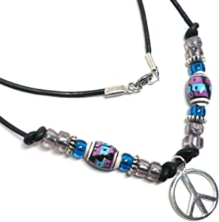 Peace Sign Leather Necklace Peruvian Ceramic Blue Purple