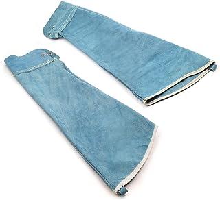 Handook Heat Resistant Welding Sleeves,Leather Sleeves for Welding, Spark Resistant Protection, Button Closure, 1 Pair (Blue)