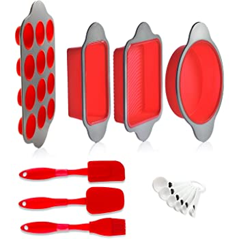 Silicone Baking Molds, Pans and Utensils (Set of 13) by Boxiki Kitchen | Silicone Cake Pan, Brownie Pan, Loaf Pan, Muffin Mold, 2 Spatulas, Brush and 6 Measuring Spoons