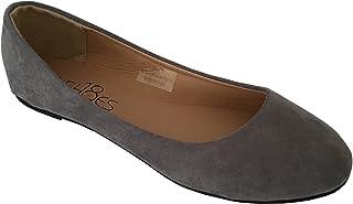 Womens Ballerina Ballet Flat Shoes Solids & Leopards 9, 8600 Grey Micro