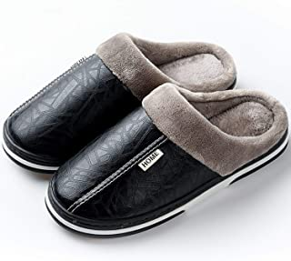 7a18904c35d Don t mention the past Men s Slippers Winter Home Waterproof Flats Warm  Indoor Shoes Non