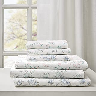 Madison Park Floral King Bed Sheets, Cottage/Country 100% Cotton Bed Sheet, Blue Bed Sheet Set 6-Piece Include Flat Sheet, Fitted Sheet & 4 Pillowcases