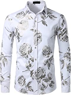 Men's Geek Rose Gold Shiny Flowered Printed Stylish Slim Fit Long Sleeve Button Down Shirt