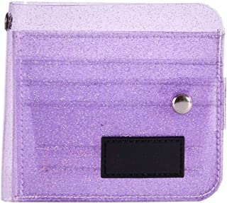 Niome Transparent Wallet PVC Folding ID Card Case Holder Storage Bag Purple