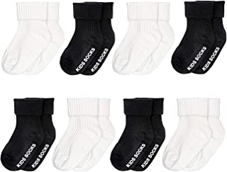 Unisex-Baby Non-Skid Turn Cuff Cotton Socks 8 Pairs Pack,Soft Stretch Knit Slippers Infant Toddler Walker with Grip