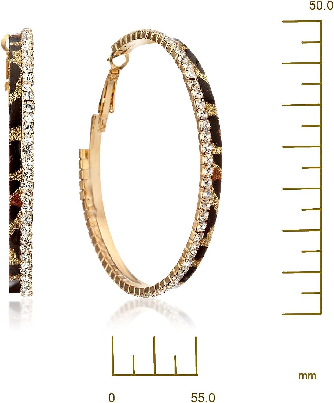Gemini Women Fashion Gold Plated Leopard Print Crystal Big Round Hoop Earrings Gm148 2