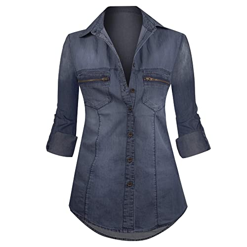 a2cccff3cf8 HOT FROM HOLLYWOOD Classic Denim Washed Chest Pocket Button Closure Top
