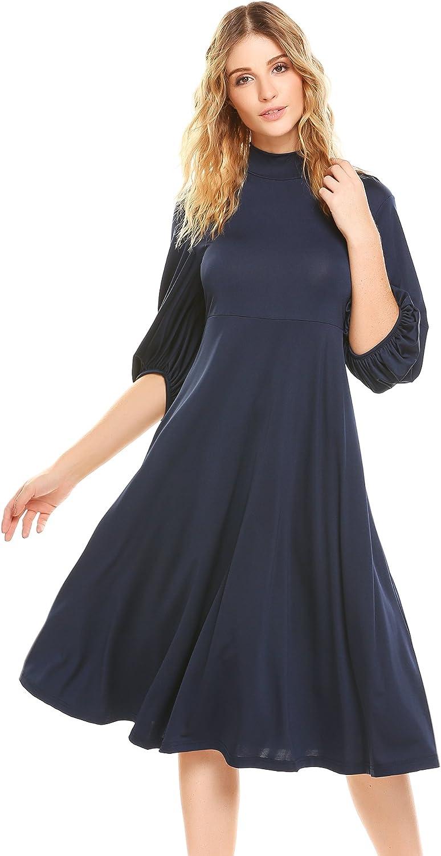 BEAUTYTALK Womens High Neck 3 4 Flare Sleeve Empire Waist Loose Casual TShirt Dress