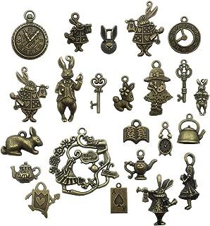 40pcs Antique Bronze Alice in Wonderland Fairy Tales Tea Party Steampunk Victorian Necklace Bracelet Charms (antique bronze)