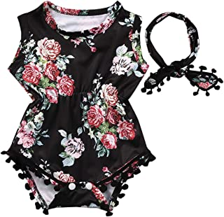 Sponsored Ad - Baby-Girls Floral Outfit Romper Clothes Sleeveless Tassel Bodysuit + Headband