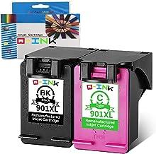 QINK 2PK Remanufacturados para HP 901XL 901 XL Cartuchos de tinta Compatible con HP Officejet J4500 J4524 J4525 J4535 J4540 J4550 J4560 J4580 J4585 J4600 J4624 J4640 J4660 J4624 J4680 J4680C G510a