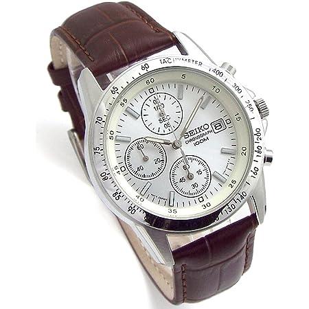 SEIKO クロノグラフ 腕時計 本革ベルトセット 国内セイコー正規流通品 ホワイト ディープブラウン SND363P1-DB [並行輸入品]
