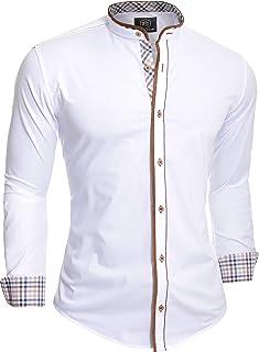 D&R Fashion Mens Shirt Casual Slim Fit Grandad Collar