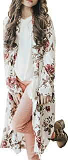 Girls Fall Clothes Long Sleeve Cardigan Floral Kimono Coat Elbow Patch Tops with Pockets