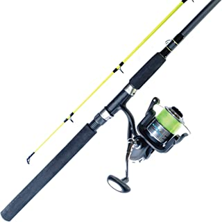 Ardent Super Duty Spinning Combo with 2 Piece Fiberglass Rod, 7 Foot 6 Inch, and 5000 Spinning Reel, 5.5:1 Gear Ratio