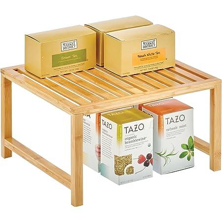 mDesign organiseur de cuisine – rangement pour étagère de cuisine pratique en bambou écologique – accessoire de rangement durable pour placard de cuisine, plan de travail, etc. – couleur naturelle