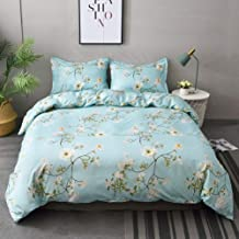 M&Meagle 3 Pieces Floral Flower Duvet Cover Set with Zipper and Corner Ties,Plant Printed,100% Brushed Microfiber Bedding Set for Women and Men-King Size(3Pcs,1 Duvet Cover 2 Pillowcases)