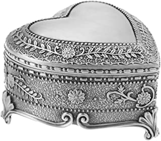Song Tibetan Silver Metal Earrings Necklace Jewelry Display Box Engraved Copper Vintage Storage Organizer Case(Heart Shaped)