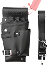 TOMBRO Professional Barber & Salon Leather Holster - Holder for Haircutting Scissors/Shears, Clippers, Styling Combs and other Salon Tools Case (Black)