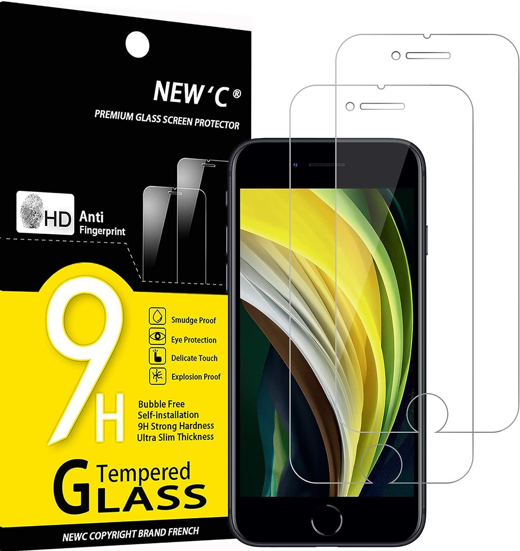 NEW'C 2 Unidades, Protector de Pantalla para iPhone SE 2020, Antiarañazos, Antihuellas, Sin Burbujas, Dureza 9H, 0.33 mm Ultra Transparente, Vidrio Templado Ultra Resistente
