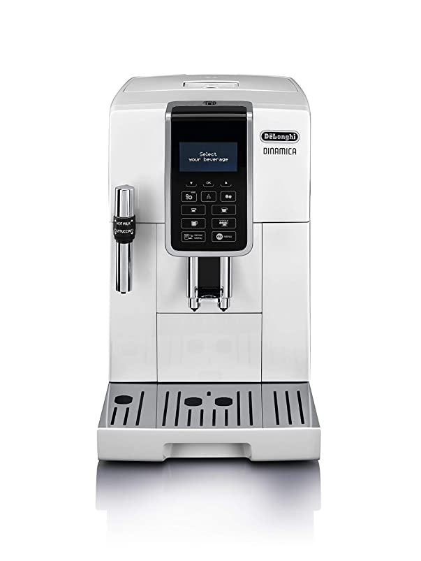 広範囲に擬人計算するデロンギ コンパクト全自動コーヒーマシン ディナミカ ホワイト 4カップ以下 ECAM35035W