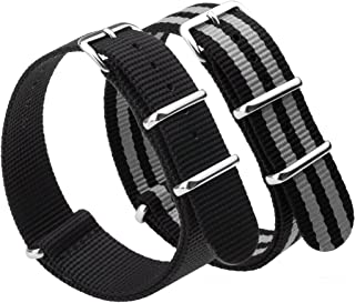NATO Watch Bands Strap Canvas Fabric Nylon Watch Straps with Stainless Steel Buckle,Adebena Ballistic Replacement Watch Bands Width 20mm 22mm