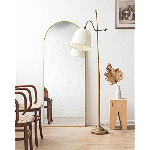 TinyTimes 65''x22'' Arched Full Length Mirror, Floor Mirror with Stand, Full Body Mirror, Wall Mirror, Modern & Contemporary Full Length Mirror - Gold