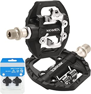 TacoBey MTB Bike Pedals Dual Platform Compatible with Shimano SPD Mountain Clipless Pedals, 3-Sealed Bearing Lightweight N...