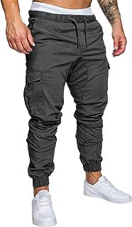 UMore Hombre Cinturón de Cintura elástico Pantalones de chándal de algodón Largo Jogging Pantalones de Carga Deportiva de ...
