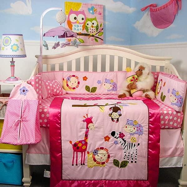 SoHo Baby Crib Bedding 10Pc Set Pink Animal Pals