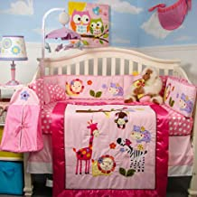 SoHo Baby Crib Bedding 10Pc Set, Pink Animal Pals