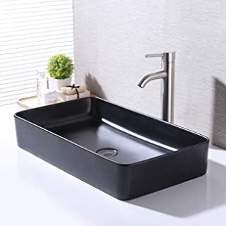 KES Bathroom Vessel Sink 24 Inch Above Counter Rectangular Matte Black Countertop Sink for Cabinet Lavatory Vanity, BVS123S60-BK