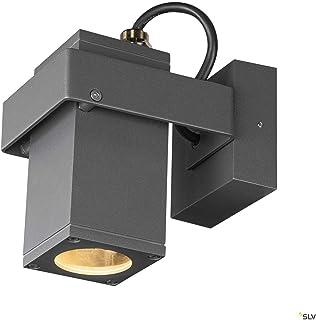 SLV Lámpara de pared y techo Theo Bracket CW/Iluminación para paredes, caminos, entradas, foco LED exterior, lámpara de exterior, lámpara de jardín, foco de techo / GU10 IP65 7 W antracita