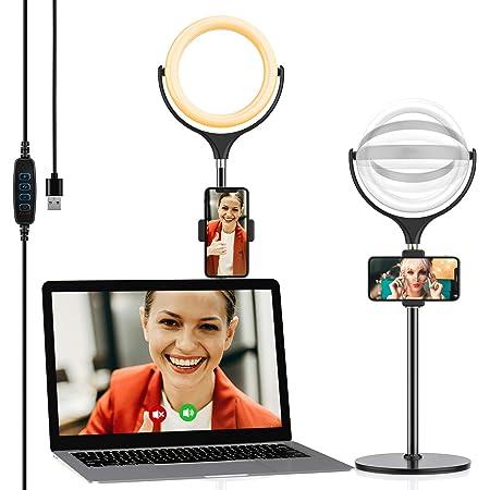 Yoozon Mini Anillo de Luz LED fotográfica de Escritorio, 3 Colores y 10 Brillos. Altura Ajustable con Soporte de teléfono para Selfie, Videoconferencia, Youtube Video, Maquillaje, Transmisión en vivo
