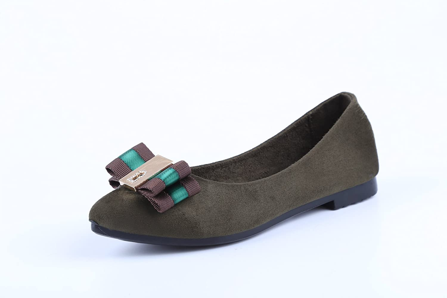 WHW Women shoes light port Single Twine Bow Knot ,green,37 shoes tips