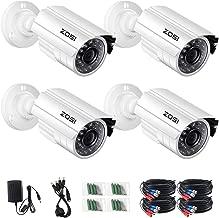 ZOSI 4 Pack 2.0 Megapixel HD 1080P 1920TVL 4 in 1 TVI CVI AHD CVBS CCTV Cameras Kits 65ft IR Day Night Vision Waterproof Cameras Aluminum Housing for HD-TVI AHD CVI and CVBS 960H Analog DVR System