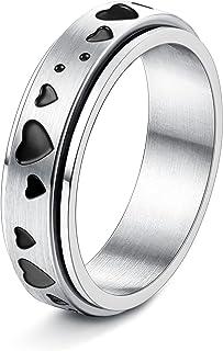 FIBO STEEL Stainless Steel Spinner Ring for Women Men Fidget Band Rings Moon Star Sand Blast Finish Flower Ring Set for St...