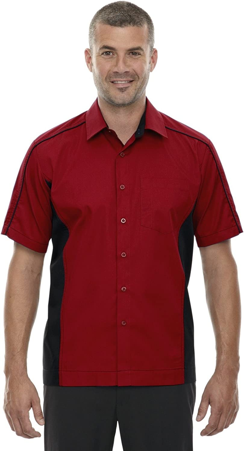 North End Mens Fuse Color-Block Twill Shirts (87042T) -CLASSIC RED -2XL